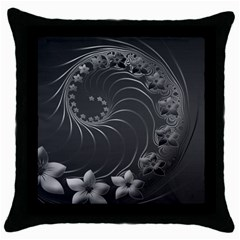 Dark Gray Abstract Flowers Black Throw Pillow Case