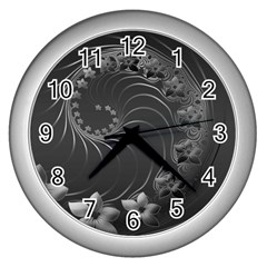 Dark Gray Abstract Flowers Wall Clock (Silver)