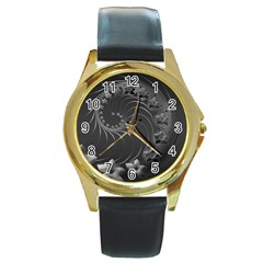 Dark Gray Abstract Flowers Round Metal Watch (gold Rim)