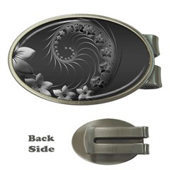 Dark Gray Abstract Flowers Money Clip (Oval)