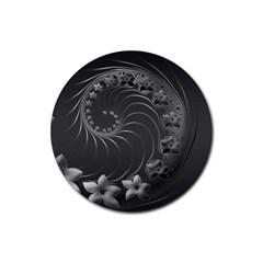Dark Gray Abstract Flowers Drink Coasters 4 Pack (Round)