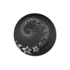 Dark Gray Abstract Flowers Magnet 3  (round)