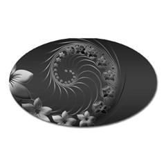 Dark Gray Abstract Flowers Magnet (Oval)
