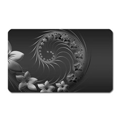 Dark Gray Abstract Flowers Magnet (Rectangular)