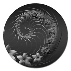 Dark Gray Abstract Flowers Magnet 5  (round)