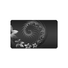 Dark Gray Abstract Flowers Magnet (Name Card)