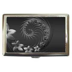 Dark Gray Abstract Flowers Cigarette Money Case