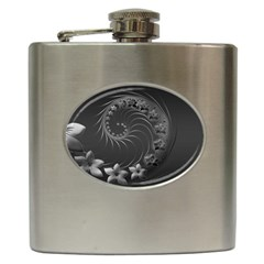 Dark Gray Abstract Flowers Hip Flask