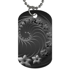Dark Gray Abstract Flowers Dog Tag (two Sided)