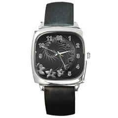 Dark Gray Abstract Flowers Square Leather Watch