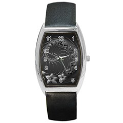 Dark Gray Abstract Flowers Tonneau Leather Watch