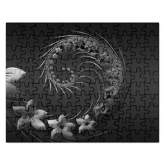 Dark Gray Abstract Flowers Jigsaw Puzzle (rectangle)