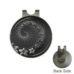 Dark Gray Abstract Flowers Hat Clip With Golf Ball Marker