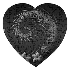 Dark Gray Abstract Flowers Jigsaw Puzzle (heart)