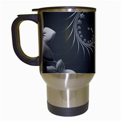 Dark Gray Abstract Flowers Travel Mug (White)