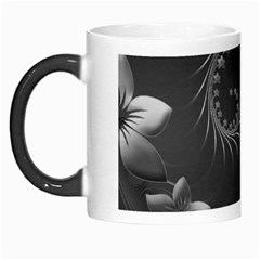 Dark Gray Abstract Flowers Morph Mug