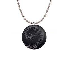 Dark Gray Abstract Flowers Button Necklace