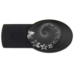 Dark Gray Abstract Flowers 4GB USB Flash Drive (Oval)