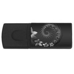 Dark Gray Abstract Flowers 4GB USB Flash Drive (Rectangle)