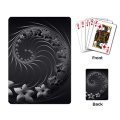 Dark Gray Abstract Flowers Playing Cards Single Design