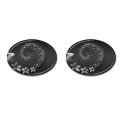 Dark Gray Abstract Flowers Cufflinks (oval)