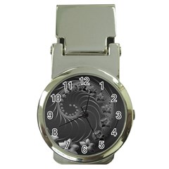 Dark Gray Abstract Flowers Money Clip with Watch