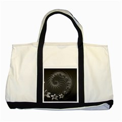 Dark Gray Abstract Flowers Two Toned Tote Bag