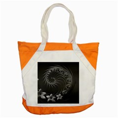 Dark Gray Abstract Flowers Accent Tote Bag