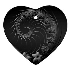 Dark Gray Abstract Flowers Heart Ornament (Two Sides)