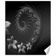 Dark Gray Abstract Flowers Canvas 8  x 10  (Unframed)