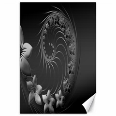 Dark Gray Abstract Flowers Canvas 12  x 18  (Unframed)