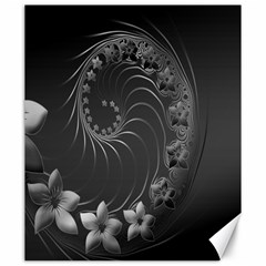 Dark Gray Abstract Flowers Canvas 20  X 24  (unframed)