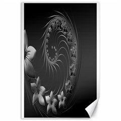 Dark Gray Abstract Flowers Canvas 24  x 36  (Unframed)