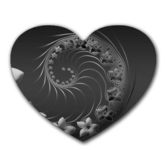 Dark Gray Abstract Flowers Mouse Pad (Heart)