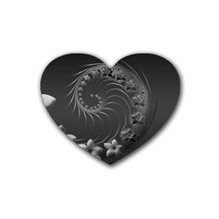 Dark Gray Abstract Flowers Drink Coasters 4 Pack (heart)