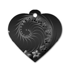 Dark Gray Abstract Flowers Dog Tag Heart (two Sided)