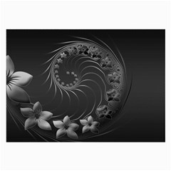 Dark Gray Abstract Flowers Glasses Cloth (Large)