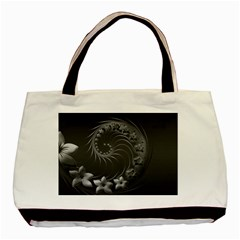 Dark Gray Abstract Flowers Twin-sided Black Tote Bag