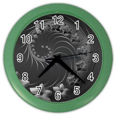 Dark Gray Abstract Flowers Wall Clock (Color)