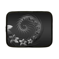 Dark Gray Abstract Flowers Netbook Case (Small)
