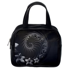 Dark Gray Abstract Flowers Classic Handbag (one Side)