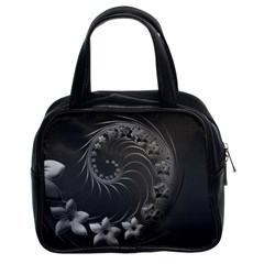Dark Gray Abstract Flowers Classic Handbag (Two Sides)
