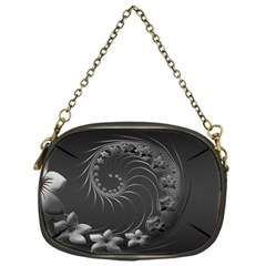 Dark Gray Abstract Flowers Chain Purse (one Side)