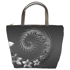 Dark Gray Abstract Flowers Bucket Bag