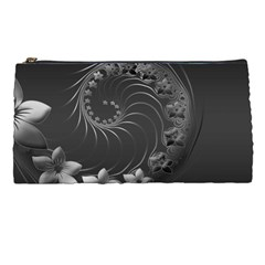 Dark Gray Abstract Flowers Pencil Case