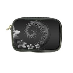 Dark Gray Abstract Flowers Coin Purse