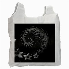 Dark Gray Abstract Flowers Recycle Bag (Two Sides)