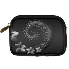 Dark Gray Abstract Flowers Digital Camera Leather Case
