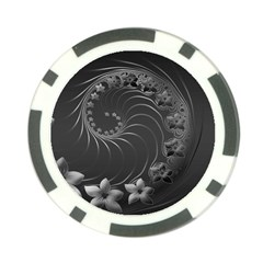 Dark Gray Abstract Flowers Poker Chip 10 Pack