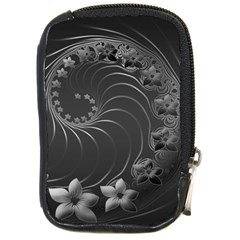 Dark Gray Abstract Flowers Compact Camera Leather Case